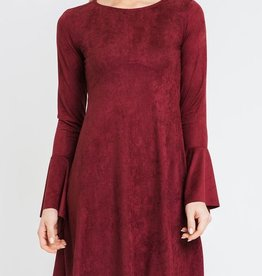 Southern Chic Belle Sleeve Dress- Burgundy