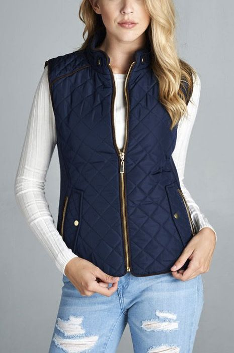 On The Right Track Quilted Vest - DK Navy