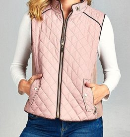 On The Right Track Quilted Vest - Dusty Pink