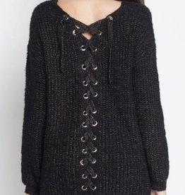 Black Side Lace-Back Sweater - Black