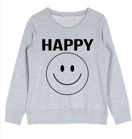 Happy Face Graphic Sweatshirt - Heather Grey