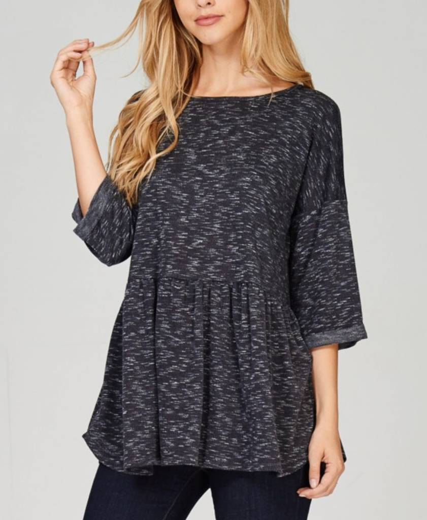 Chosen This Love Babydoll Top - Black