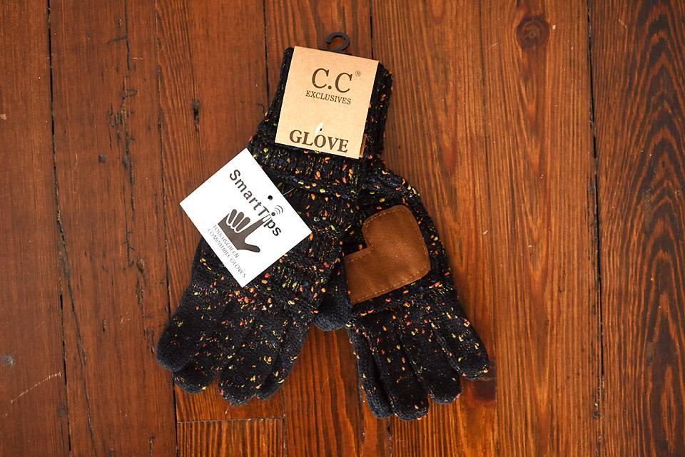 Confetti Knit Glove - Black