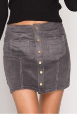Day To Day Corduroy Mini Skirt - Grey