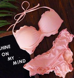 Solids Push Up Ruffled Underwire Bikini Top - Apricot Blush