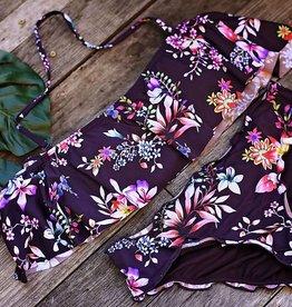 Tropi-Call Me Ruffle Bandeau Bikini Top- Multi