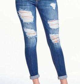 Love Hurts Mid Rise Boyfriend Jeans - Medium Dark