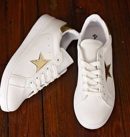 Panther Lace Up Sneaker - White/Gold