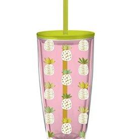 Travel Tumbler 22oz.- Pineapples On Pink