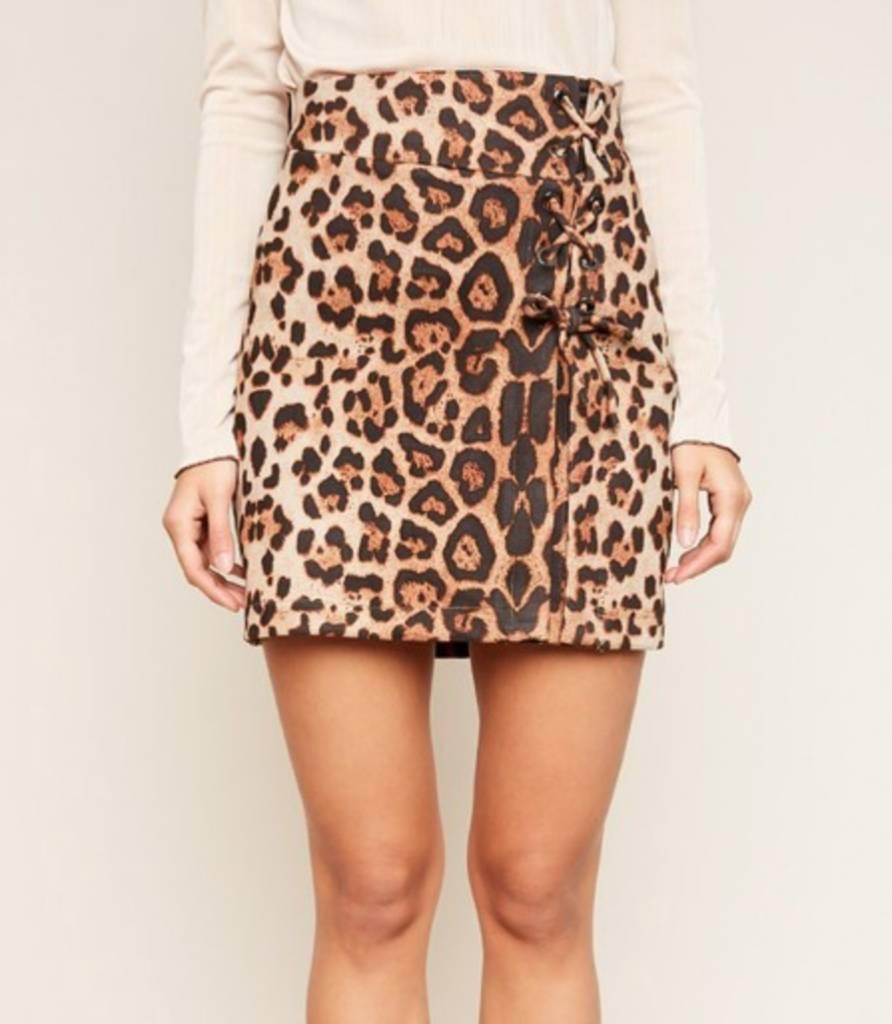 No Compromises Lace Up Skirt - Leopard