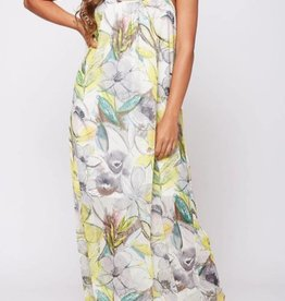 Smelling The Flowers Maxi Dress - Grey/Yellow
