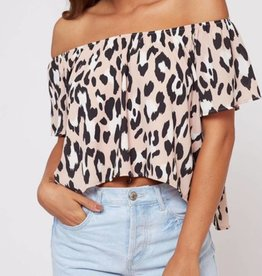 Thrills Ya Off Shoulder Top - Dusty Pink/Leopard