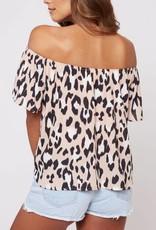 Thrills Ya Off Shoulder Top - Dusty Pink/Leopard