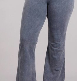 Nine To Five Bell Bottom Pants- Blue Grey
