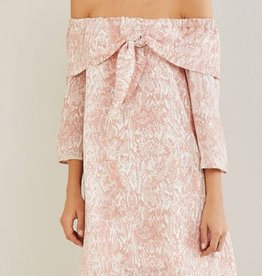 Love Is Blind Off-Shoulder Dress - Blush