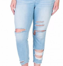 False Alarm Shredded Skinny- Light Denim