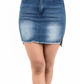 Out For The Day Denim Skirt - Dark Blue