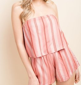 Careless Love Tube Top Romper - Pink Stripe