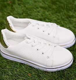 Gold Digger Lace Up Sneaker - White