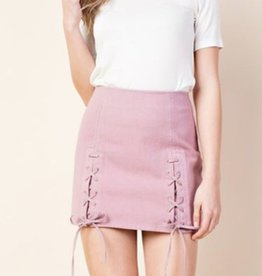 Love Me Now Lace Up Mini Skirt - Mauve