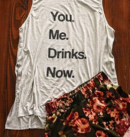 You...Me...Drinks...NOW! Graphic Tank - Heather Grey