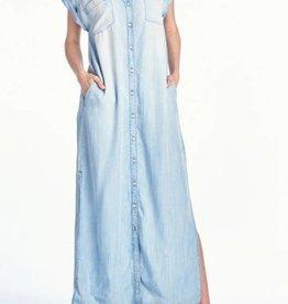 Telling Secrets Maxi Shirt Dress- Light Denim