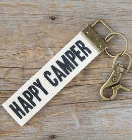 Canvas Key Fob Happy Camper