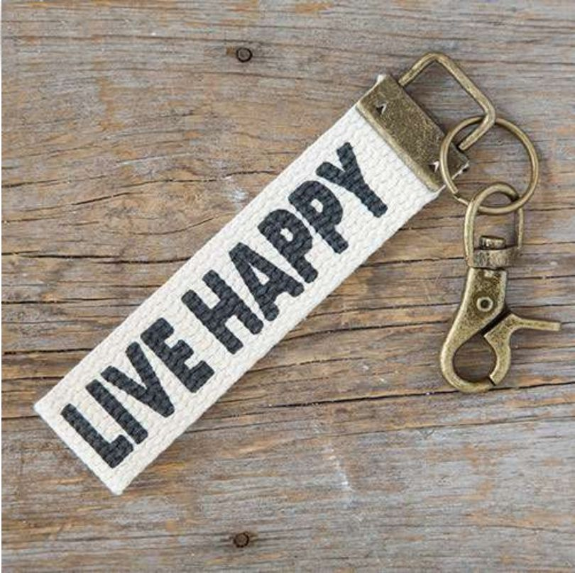 Canvas Key Fob Live Happy