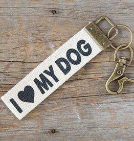 Canvas Key Fob I Love My Dog