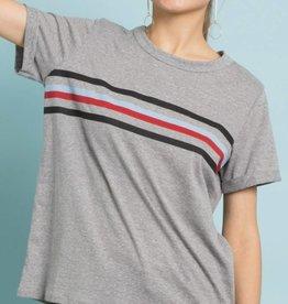 Vintage Varsity Stripe Tee - Grey
