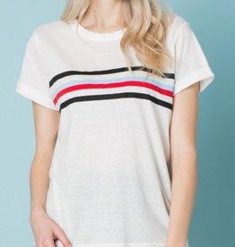 Vintage Varsity Stripe Tee - Off White