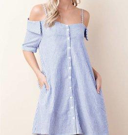 Seeing Stripes Dress- Blue