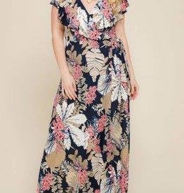 Classy And Fabulous Wrap Maxi Dress- Navy