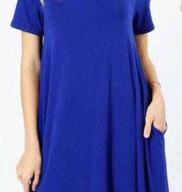 I'm So Basic Dress - Denim Blue