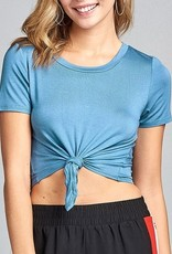 All Twisted Crop Top- Blue Shadow