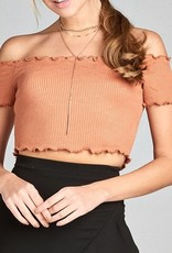 Stuck On Love Crop Top- Apricot