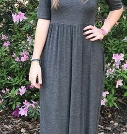 Now And Forever 3/4 Sleeve Maxi Dress - Charcoal