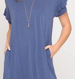 Keeping It Cozy Dress- Dusty Blue