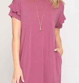 Keeping It Cozy Dress- Mauve Pink