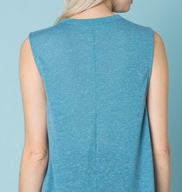Rocking All Night Muscle Tank - Sky Blue/White