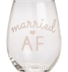 Stemless Statement Wine Glass- Married AF