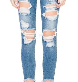 Going Crazy Cropped Skinny Jeans - Light Denim