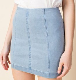 Just Let It Be Mini Skirt - Light Denim