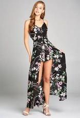 Where The Wildflowers Grow Romper Dress - Black