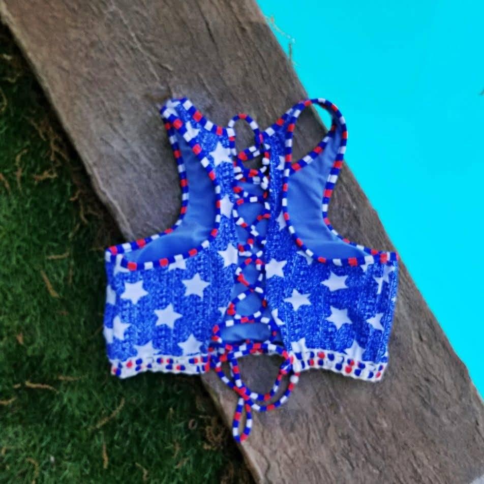 Americana Lace Back Crop Top- Blue
