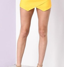 Off She Goes Suede Skort - Yellow