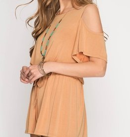 Made To Dance Romper- Apricot
