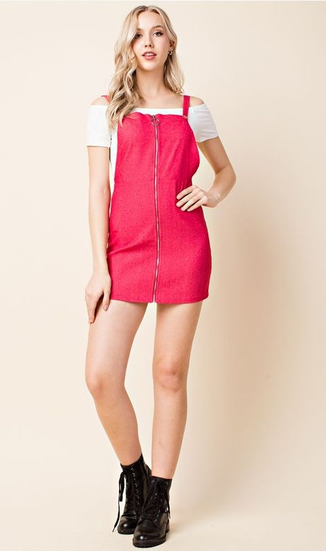 Looking For Love Overall Dress - Red