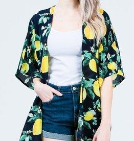 Lemonade Dreams Kimono- Navy One Size