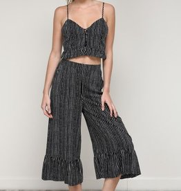 Let It Be Striped Pants- Black